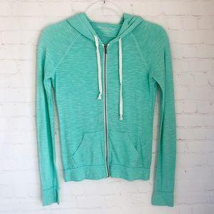 [American Eagle] mint full zip burnout hoodie XS